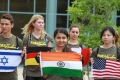 Our ambassador from India proudly presents her countries flag!